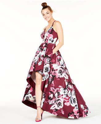 Speechless Juniors' Printed Lace Racerback High-Low Gown