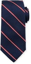 Neiman Marcus Striped-Print Silk Tie, Navy