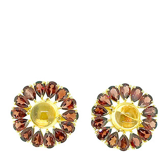 Arthur Marder Fine Jewelry 18K Gold Over Silver Gemstone Flower Studs