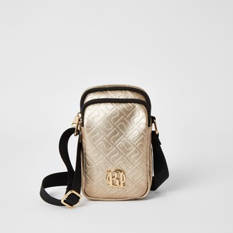 River Island Girls Gold RI embossed cross body bag