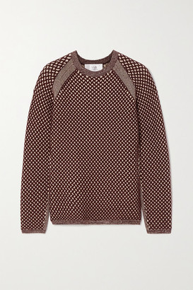 Victoria Victoria Beckham Two-tone Cable-knit Sweater - Burgundy