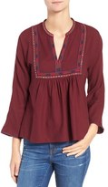 Madewell Women's Java Embroidered Bib Blouse