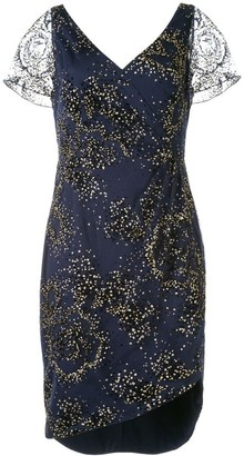 Marchesa Notte Glitter Tulle Cocktail Dress