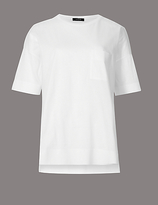 Autograph Pure Cotton Dipped Hem Half Sleeve T-Shirt