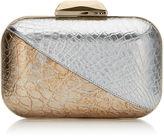 Jimmy Choo CLOUD Silver and Gold Metallic Crocodile Clutch Bag