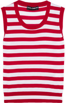 Dolce & Gabbana Striped Cashmere And Silk-blend Tank - Red