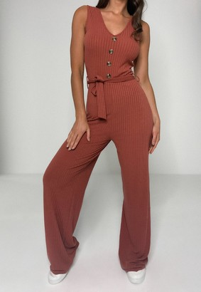 Missguided Tall Rust Rib Horn Button Jumpsuit