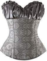 Tricandide Womens Floral with Side Zipper Satin Trim Overbust Corset L