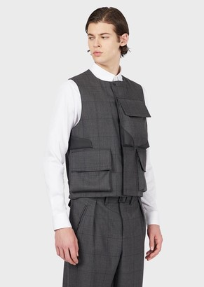 Emporio Armani Plaid Wool Gilet With Oversized Pockets