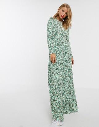 Asos Design DESIGN long sleeve printed maxi tea dress-Multi