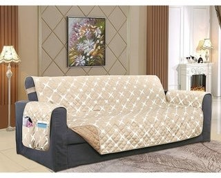 Elegant Comfort Reversible Bloomingdale Pattern Quilted Sofa Furniture Protector