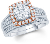 Zales 1 CT. T.W. Composite Diamond Cushion Frame Bridal Set in 10K Two-Tone Gold
