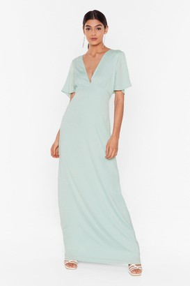 Nasty Gal Womens Oh We Didn't V You There Satin Maxi Dress - Green - 4