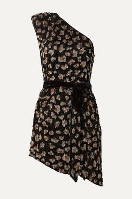 retrofete Ella One-shoulder Velvet-trimmed Sequined Chiffon Mini Dress - Black