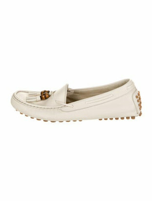 Gucci Leather Tassel Accents Loafers White