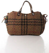 Il Bisonte Brown Wool Woven Double Strap Satchel Handbag In Dust Bag
