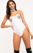 PrettyLittleThing Fathie Silver Metallic Mermaid Shell Applique Thong Bodysuit