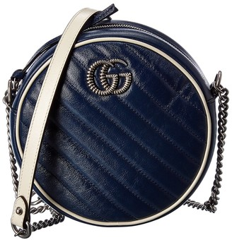 Gucci Gg Marmont Mini Round Leather Crossbody