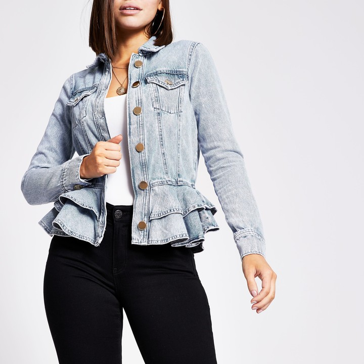Thumbnail for your product : River Island Womens Blue frill fitted denim jacket