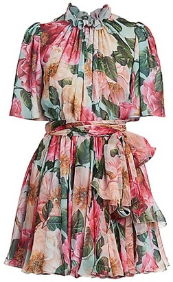 Dolce & Gabbana Floral Georgette Highneck Flutter Sleeve Dress