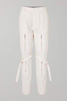 Ambush Zip-detailed Cotton-canvas Pants - White