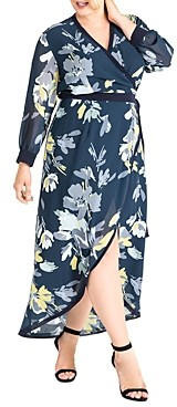 Standards & Practices Elle Printed Chiffon Wrap Dress