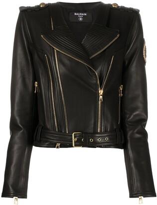 Balmain Zip-Detail Leather Jacket