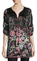 Tolani Joan Floral Velvet Burnout Long Tunic