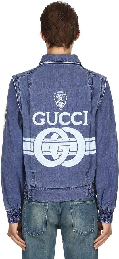 Gucci Logo Print Cotton Canvas Jacket