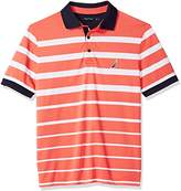 Nautica Men's Classic Fit Short Sleeve Striped Moisture Wicking Polo Shirt