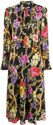 Boutique Moschino Tied-Neck Floral Print Dress