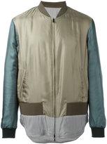 Fendi striped hem bomber jacket - men - Silk/Polyamide/Spandex/Elastane/Polyester - 48