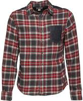 Converse Mens Heavy Flannel Contrast Pocket Checked Long Sleeve Shirt Chilli Pepper Multi