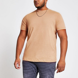 River Island Big and Tall stone crew neck slim fit T-shirt
