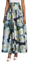 ADAM by Adam Lippes High-Waist Floral-Print Ball Skirt, White Dahlia