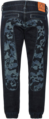 Evisu Denim Jogger Jeans With Discharge Camouflage Daicock Insert