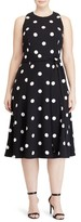 Lauren Ralph Lauren Plus Size Women's Dot Print Crepe Fit & Flare Dress