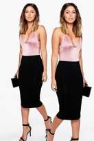 Boohoo Brea 2 Pack Basic Jersey Midi Skirt black