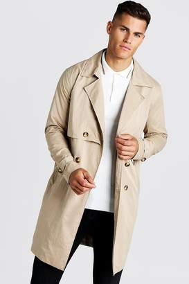 BEIGE BoohoomanBoohooMAN Mens Trench Coat With Shoelace Belt,