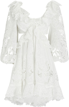 Zimmermann Lulu Ruffled Cut-Out Mini Dress