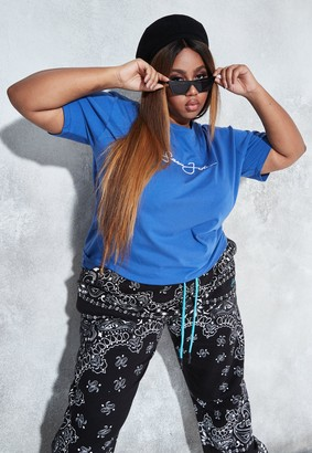 Missguided Sean John X Plus Size Blue Classic Oversized T Shirt