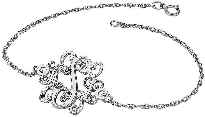 JCPenney FINE JEWELRY Personalized Sterling Silver 20mm Monogram Bracelet