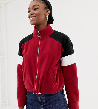New Look color block polar fleece in burgundy-Red