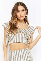 Forever 21 Striped Flounce Crop Top