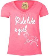 Queen Apparel horse shirt horseback riding girls shirt youth v-neck