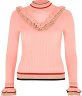River Island Womens Pink ribbed knit V frill sweater
