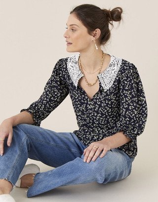 Monsoon Lace Collar Ditsy Floral Top Blue