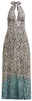 Heidi Klein Snake-print Halterneck Maxi Dress - Womens - White Multi