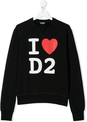 DSQUARED2 TEEN I love D2 printed sweatshirt