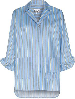 Ganni Vertical-Stripe Pyjama Top
